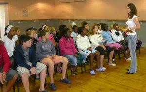 Lesley Rochat Teaching Children at the SOS Shark Centre