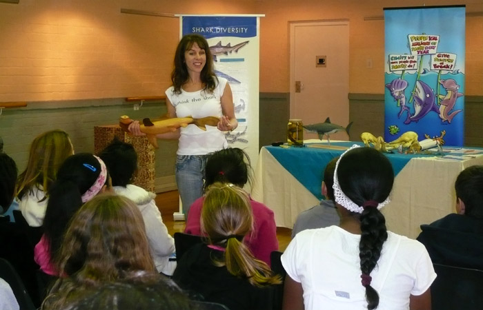 Lesley Rochat Teaching Children at the SOS Shark Centre
